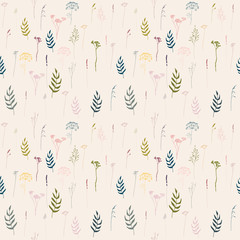 Vector floral seamless pattern with lavender, fennel and other wild meadow  grasses , herbs and flowers outlines . Thin lines plants in pastel colors on beige background.