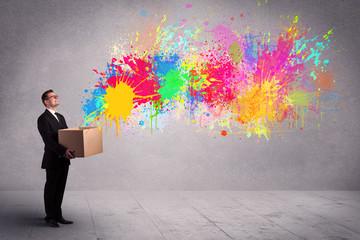 Colour splatter from box