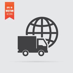International transportation icon in flat style isolated on grey background.