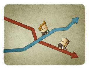 Rise and fall of business indicators. Concept of mechanical stairs