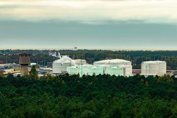 Fuel terminal in Riga. Large oil tanks