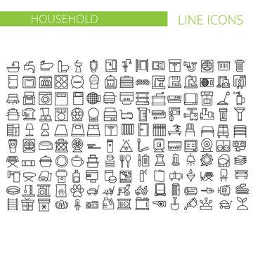 Household appliances line icons set. Vector illustration