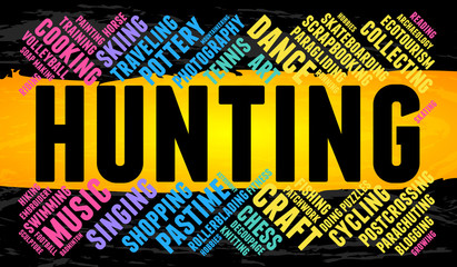 Hunting. Word cloud, multicolor font, yellow stripe, grunge background. Hobby.