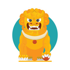 Vector illustration of a Chinese guardian lion or imperial guardian lion also known as Foo Dog or Japanese Komainu, Korean Xiezhi or Haetae.