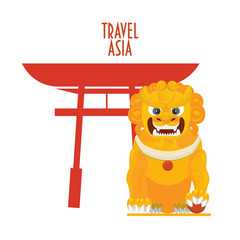 "Red Torii or Japanese gate and yellow Foo dog or fu dog known also as guardian lion or imperial lion. In Japan called Komainu and in Korea Haetae. Text ""Travel Asia""."