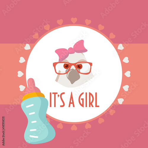 Baby Shower Card It S A Girl Baby Birth Celebration Invitation Or