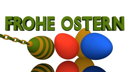 3d-Illustration, bunte Ostereier mit deutschem Text