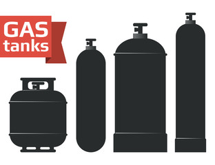 Various gas tanks sihlouette icons set.