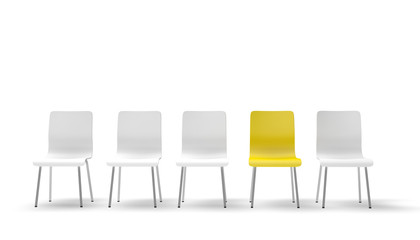 Line of Chairs / Integration / Leadership / 3d