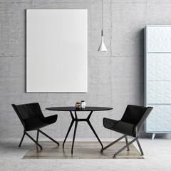 Mock up poster, hipster dining room background, 3d illustration
