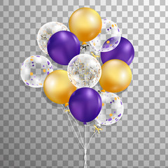 Set of purple, gold, wthite with confetti helium balloon isolated in the air . Frosted party balloons for event design. Party decorations for birthday, anniversary, celebration.