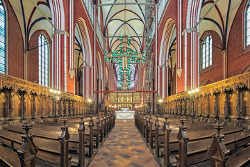Bad Doberan, Germany. Interior of Doberan Minster, the most important religious heritage of the European Route of Brick Gothic.