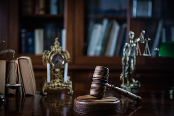 Law and Justice ConceptJudge gavel on table, closeup