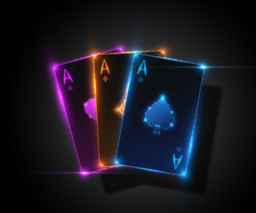 Three ace card, poker casino illustration. Vector graphic.
