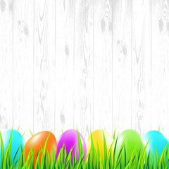 Easter wood background with colorful eggs, grass. Vector illustration.
