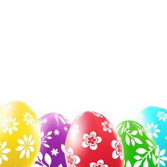 Colorful easter eggs with floral pattern on white background. Vector illustration.