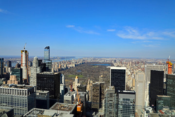 Aerial view of Manhattan in New York City, looking north towards Central Park, from the Top of the Rock.