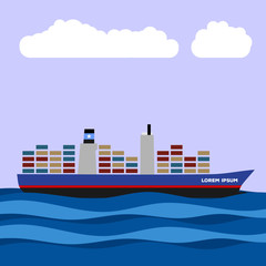 Cargo ship with containers icon. Vector illustration