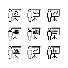 Training, presentation set conceptual icons. Vector illustration.