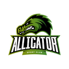 Furious alligator sport vector logo concept isolated on white background. Professional team predator badge modern design.