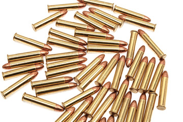 Small-caliber rifle cartridges isolated on white