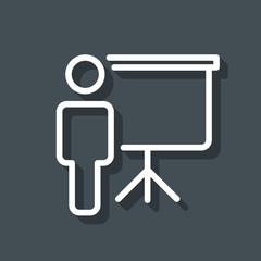 Training and presentation icon. Vector illustration. Black-white pictogramm