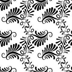 Paisley seamless pattern. Floral white background wallpaper illustration with vintage hand drawn decorative paisley flowers, swirl leaves and modern ornaments. Vector isolated  texture for fabric