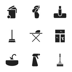 Set Of 9 Editable Hygiene Icons. Includes Symbols Such As Tap, Container, Whisk And More. Can Be Used For Web, Mobile, UI And Infographic Design.