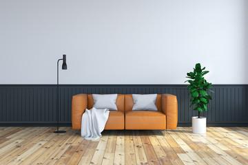 vintage  interior room , brown leather sofa  on wood flooring and dark frame wall /3d render