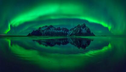 Stokksnes aurora panorama Fototapete