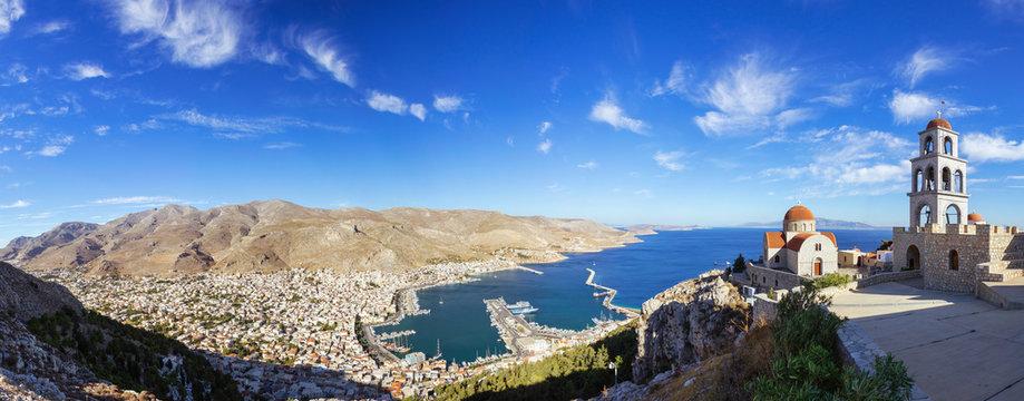 Panoramic view of Pothia Town, Kalymnos, Greece