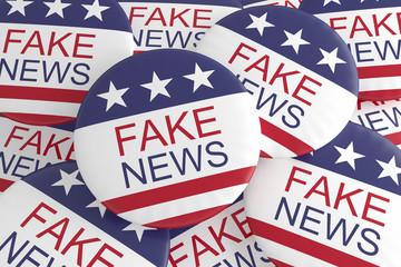 USA Politics Media Buttons: Pile of US Flag Fake News Badges, 3d illustration