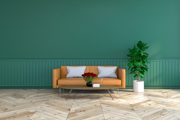 vintage room  interior, brown leather sofa  on wood flooring and deep green wall /3d render