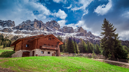 Beautiful view of the cottage in the Dolomites, Italy, Europe