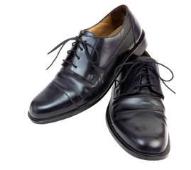 Mens shiny black dress shoes. isolated.