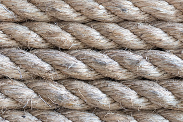 Macro photo of rope texture and background, natural rope on Bali island