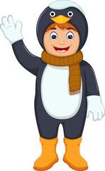 cute boy cartoon with penguin costume