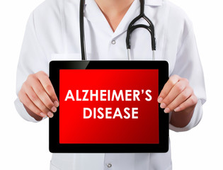 Doctor showing digital tablet screen.Alzheimer disease