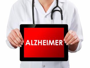 Doctor showing digital tablet screen.Alzheimer