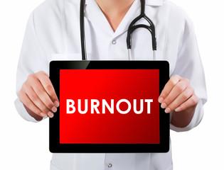 Doctor showing digital tablet screen.Burnout