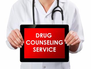 Doctor showing digital tablet screen.Drug counseling service