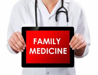 Doctor showing digital tablet screen.Family medicine