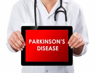 Doctor showing digital tablet screen.Parkinson disease
