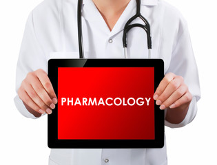Doctor showing digital tablet screen.Pharmacology