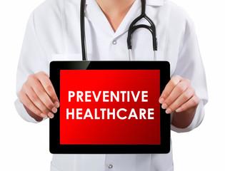 Doctor showing digital tablet screen.Preventive Healthcare