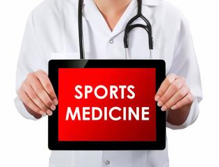 Doctor showing digital tablet screen.Sports Medicine