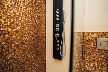 Shower head in the bathroom. Plumbing in shower