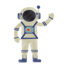 drawing astronaut spacesuit helmet antenna vector illustration eps 10