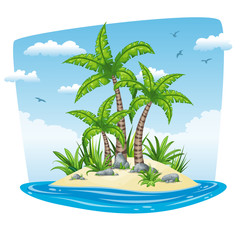 Illustration of a tropical isle landscape