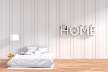 3D rendering : illustration of spacious bedroom in soft light color. comfortable bed in color wooden tile style bedroom.interior design of house.white decorate bed style wall.home decorate concept